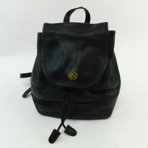 Coach Vintage Black Leather Small Back Pack